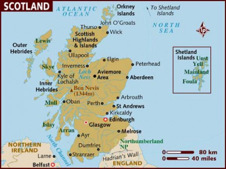 Map of Scotland.