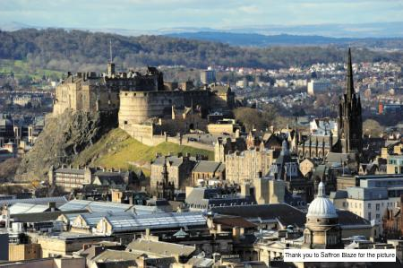Edinburgh Castle is situated on top of an ancient volcano that allows it to dominate the city skyline even today. Edinburgh Scotland, UK